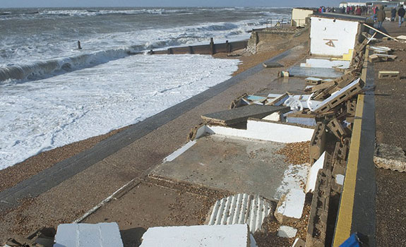 The beach huts destroyed after the Valentine's Day Storm in 2014.