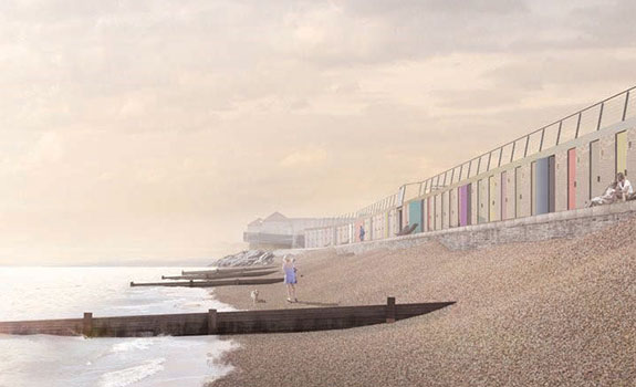 Artist's impression of the finished beach huts.