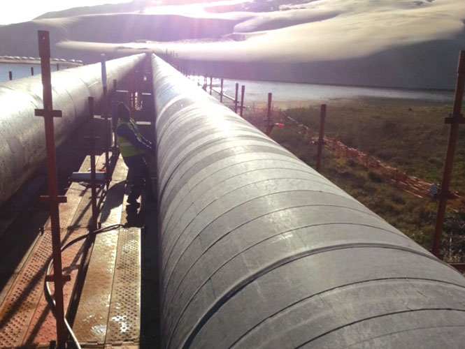Steelcoat 500 System protecing an exposed water pipeline