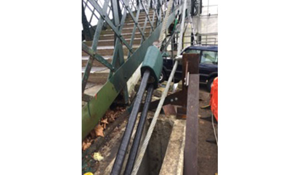 The steel wire rope protected with Denso Steelcoat™ at the Thames Ditton footbridge.